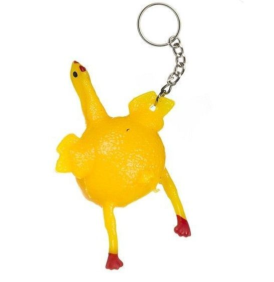 LOT OF 6 RUBBER CHICKEN WITH EGG KEY CHAINS  FUN CARNIVALS PARTY GOODY BAGS