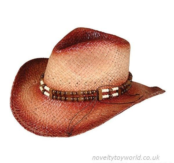 Wholesale Straw Roll Up Cowboy Hat With Beads - Adult  1dee748c84a